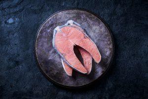 Norwegian frozen Salmon steak with bone
